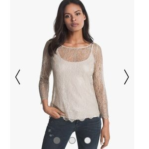 White House Black Market Long-Sleeve Lace Tee M
